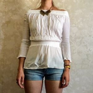 White Ribbed Off the Shoulder Top Small